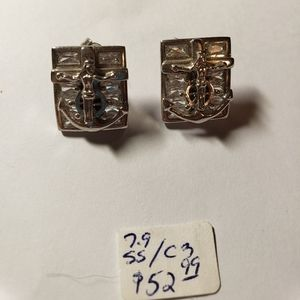 Sterling silver earrings with anchor and cross